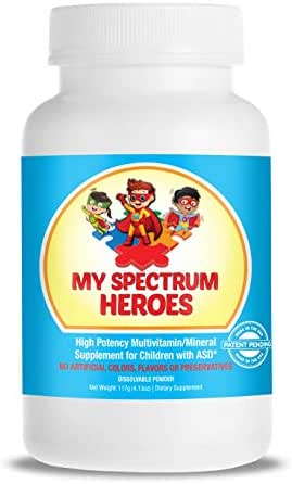 My Spectrum Heroes Kid's Multivitamin Supplement - Natural Calm, Focus, Memory, Concentration, Attention, Brain and Neural Support for Children with ADHD, Autism, ASD - Vitamin and Mineral Powder