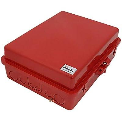 "Altelix Red NEMA Enclosure 12"" x 8"" x 4"" Inside Space Polycarbonate + ABS Weatherproof Tamper Resistant Safety Red NEMA Box"