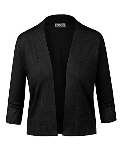 BIADANI Women Classic 3/4 Sleeve Crop Cardigan Black Small ()