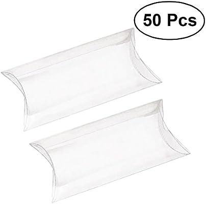 Rosenice - Juego de 50 cajas de regalo transparentes de PVC para boda, regalo de fiesta: Amazon.es: Hogar