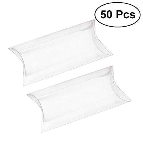 ULTNICE 50pcs Pillow Gift Boxes Clear Candy Box Transparent Party Favor Boxes Sweet Bags