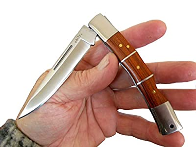 Pocket Knife, Folding Hunting Style, Bamboo Wood and Stainless Steel Handle, Quality Stainless Steel Lockback Blade, Sturdy Nylon Pouch Included