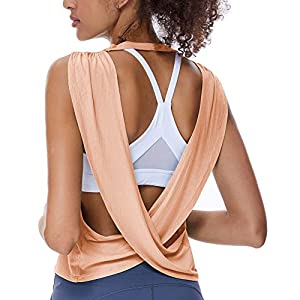 REKITA Womens Open Back Workout Tops Knitting Backless Tank Tops Flowy Yoga Top Cute Gym Shirts