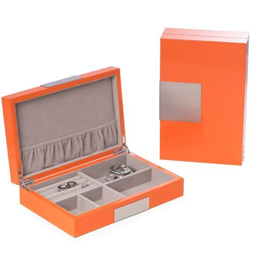 Bey-Berk International Lacquered Jewelry Box, ''Orange Colored'' Wood, T.P.