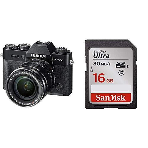 Fujifilm X-T20 Mirrorless Digital Camera w/XF18-55mmLens-Black and SanDisk 16GB Class 10 SDHC UHS-I Up to 80MB/s Memory Card (Fujifilm 16gb Sdhc Class 10 Memory Card)