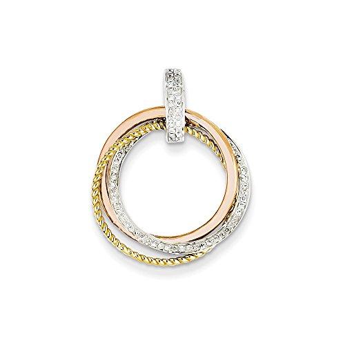 14k Tri-color Gold Diamond Moveable Circle Pendant, 14 kt Tri-Color (Gold Diamond Tri Color)