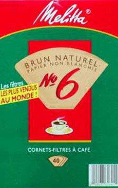 Melitta Natural Brown, Cone Filters #6 40 ea