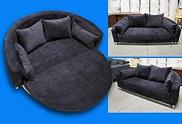 Sensational Amazon Com Modern Black Microfiber Round Sleep Sofa Bed Machost Co Dining Chair Design Ideas Machostcouk