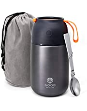 Insulated Food Flask - 730ml Stainless Steel Jar for Hot and Cold Meals – Double-Wall Insulation, Thermal Food Container for School, Office, Travel, Camping - Foldable Spoon, Bag - Grey - 24.7 oz