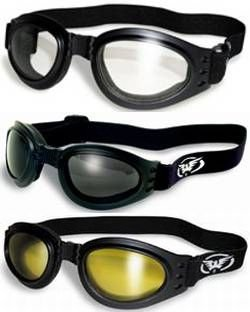3 Burning Man Motorcycle Goggles That Fold for Easy Storage Clear Smoked...