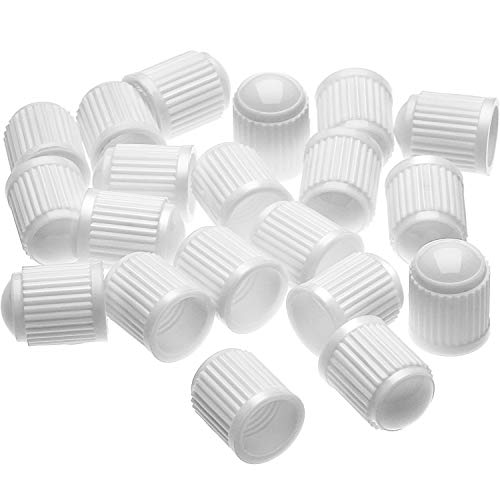 Outus 20 Pack Tyre Valve Dust Caps for Car, Motorbike, Trucks, Bike, Bicycle (White)