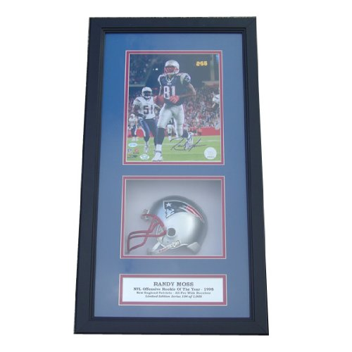 Encore Select 621-FBNEMoss Randy Moss Autographed Photograph with an 8 x 10 in. Photograph & Miniature Helmet in a 14 x 20 in. Deluxe Frame Shadow Box from Encore