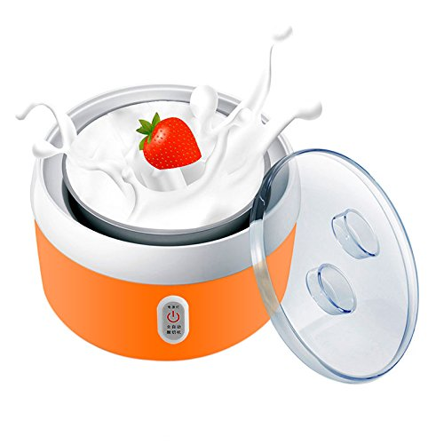 Uoften New 1.2L Automatic Yogurt Maker Stainless Steel Container (Orange) (Dash Green Yogurt Maker compare prices)
