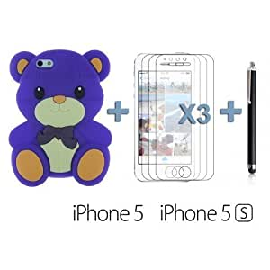 Dog Style Soft Silicone For Iphone 6 4.7 Inch Case Cover - Purple with 3 Screen Protectors and Stylus
