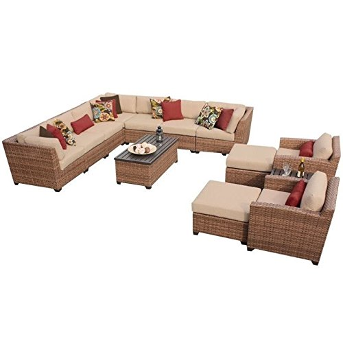 TK Classics 13 Piece Laguna Outdoor Wicker Patio Furniture Set, Wheat For Sale