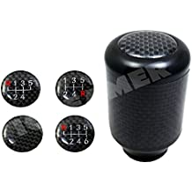 ICBEAMER Aluminum Carbon Fiber Tall Manual Shifter Gear Lever Shift Knob 5 6 Speeds pattern Easy Install [Color Black]