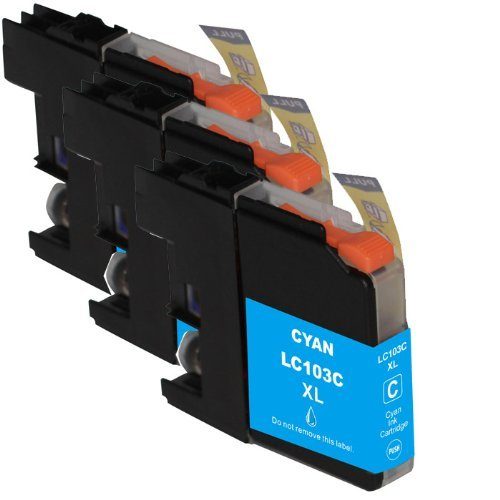 HI-VISION® Compatible Brother LC-103 LC103 XL High Yield Cyan Ink Cartridge Replacement for DCP-J152W, MFC-J245,J285DW,J450DW,J470DW,J475DW,J650DW,J870DW,J875DW Printer 3 pks
