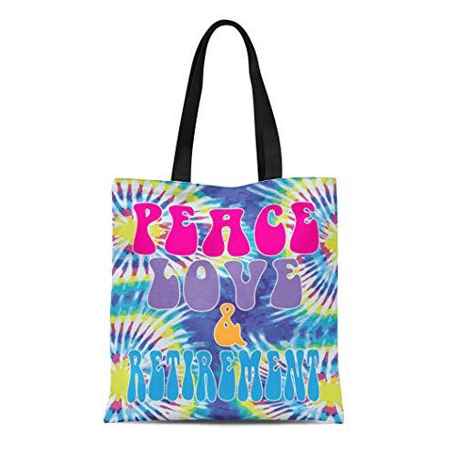 Semtomn Cotton Line Canvas Tote Bag Colorful Hippie Funny Retirement Peace Love Boomer Tie Dye Reusable Handbag Shoulder Grocery Shopping Bags