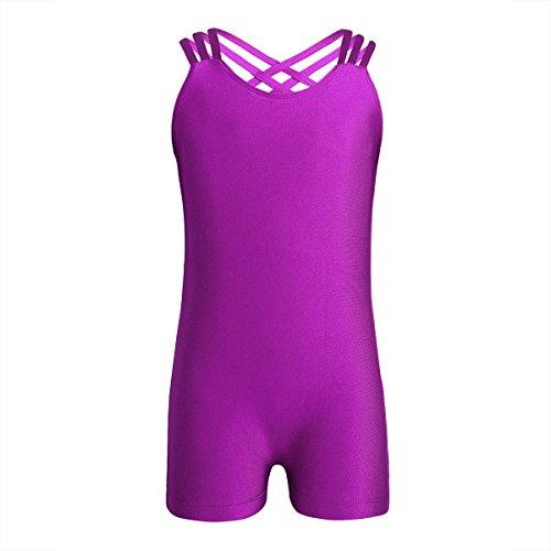 (iEFiEL Kids Girls One Piece Cross Back Gymnastics Leotard Ballet Dance Tank Leotard Bodysuit Athletic Sports Unitard Biketard Rose 5-6)
