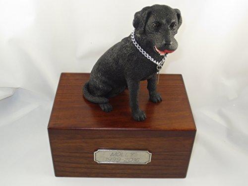 Beautiful Paulownia Medium Wooden Urn with Black Labrador Lab Retriever