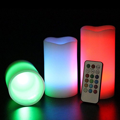JUJU MALL-3pc LED Flameless Candles Pillar 12 Color Changing w/ Remote Glow Wedding (Daily Blast Energy Elixir)