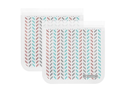 Full Circle ZipTuck Sandwich Size Reusable Bags, Chevron, 2 Pack