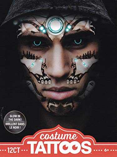 Ladies Robot Costume (Halloween Realistic Glow-in-the-Dark Temporary Costume Make Up Face Tattoo Kit Men or Women -)