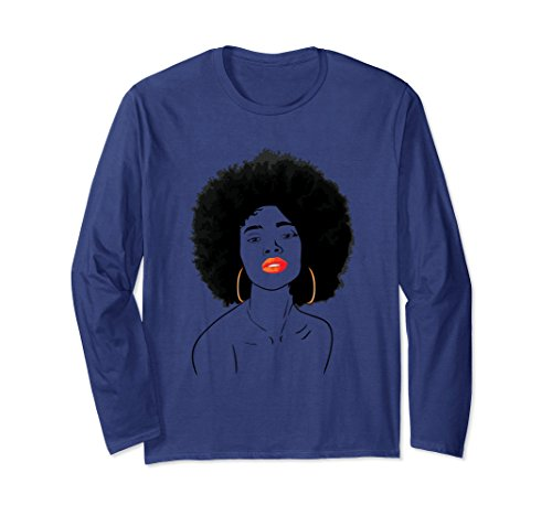 Unisex Natural Girl Tee Shirt - Black Girl Shirt Long Sleeve XL Navy