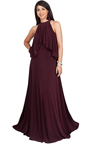 KOH KOH Petite Womens Long Sleeveless Halter Neck Flowy Bridesmaid Bridal Cocktail Spring Summer Beach Wedding Party Guest Floor-Length Gown Gowns Maxi Dress Dresses, Maroon Wine Red S 4-6