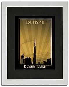 Dubai Skyline Down Town - Sepia F02-nm (a2) - Framed