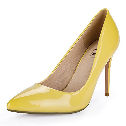 IDIFU Women's IN4 Classic Pointed Toe Stiletto High Heel Dress Pump (9 B(M) US, Yellow Patent)