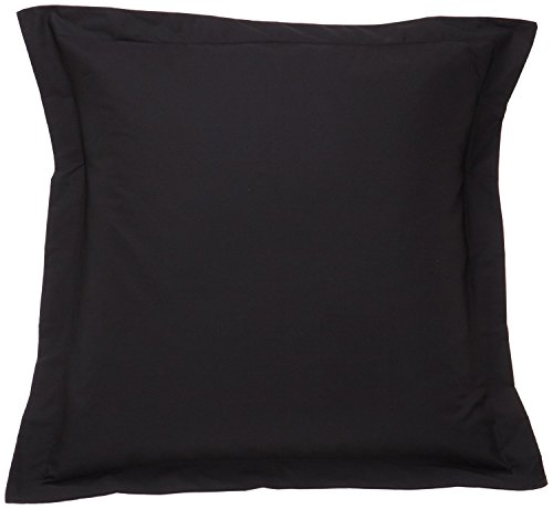 Pillow Shams Set of 2 - Luxury 500 Thread Count 100% Egyptian Cotton Cushion Cover Euro Size Decorative Tailored Poplin European Pillow Sham (Black Solid, Big Euro/Square (28 x 28 -