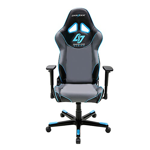 DXRacer Racing Series DOH RE129 NGB CLG Counter Logic Gaming Racing Bucket Seat Office Chair Gaming Chair Ergonomic Computer Chair Desk Chair Executive Chair With Pillows Blue