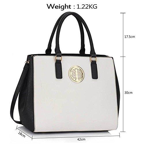 Funda de piel sintética nuevo bolso de mano para mujer moda bolso de hombro bolsas mujer grande, color morado, talla L Negro/Blanco Bolso
