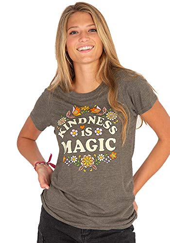 Natural Life Womens Graphic Boho T-Shirt - Soft, Slimmer Fit Tee for Ladies, Teens, Girls - Kindness is Magic - Medium Green (Best Messages On Life)