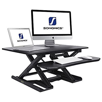 """SONGMICS Standing Desk Converter Height Adjustable Sit to Stand fits Dual Monitor, Angle and Height adjustable Keyboard Tray, 31.5""""L x 24.5""""W Black ULSD08B"""