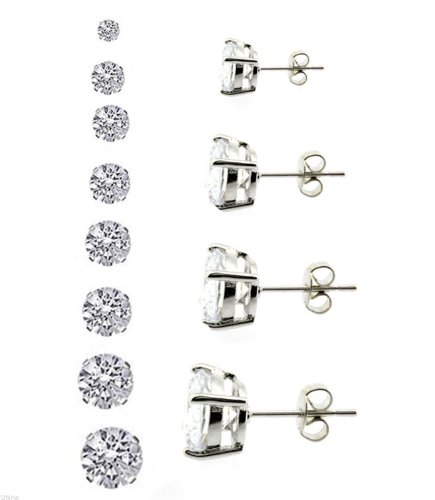 Mens Silver Plated Round Cubic Cz Basket Set Princess Cut Clear Stud Earrings 3mm to 10mm (3 Millimeters)