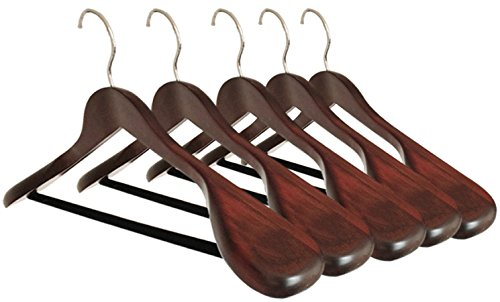 B&C Home Goods Set of 5 Luxury Wooden Hangers - Extra Wide Wood Coat Suit Hangers with Velvet Bar for Coats Clothes and Pants - Wide Shoulder