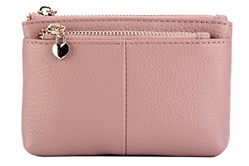 ZOOEASS  Women Genuine Leather Zip Mini Coin Purse With Key Ring Triple Zipper Card Holder Wallet (Pink)