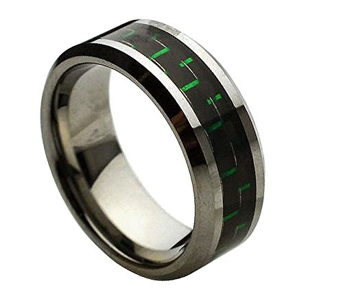 8mm Tungsten Carbide Beveled with Carbon Fiber Inlay Wedding Band Ring For Men or Ladies - Green Carbon (Tungsten Carbide Beveled)