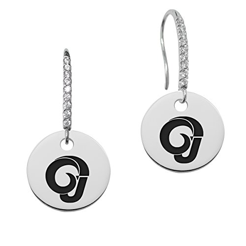 Angelo State Rams Round Charm and Cz Earring in Solid Sterling Silver by College Jewelry