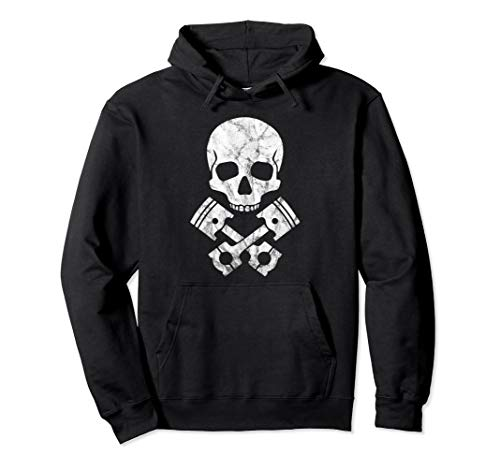 Motorcycle Hot Rod Skull & Cross Bone Piston Pullover Hoodie ()