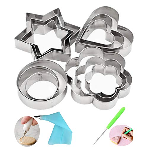 Press Set Pattern - Cofe-BY Stainless Steel Cookie Cutters set, 3 Size Star Heart Flower Round Shaped Cutters Linzer Cookie Molds for Fondant Biscuit Fruit Stamps with Cookie Decorating kits (16pcs)
