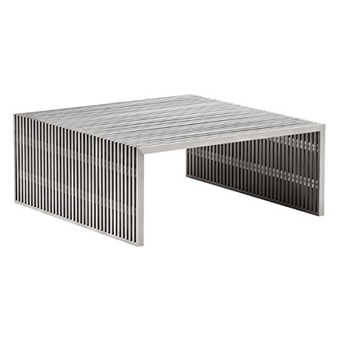 Zuo Modern 100084 Novel Square Coffee Table, Brushed Stainless Steel; Like Support Beams in a High Rise, The Novel Series is Strong and Sturdy; Made From 100% Stainless Steel; 150 ()