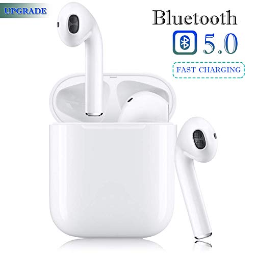 Bluetooth 5.0 Wireless Earbuds Headsets Bluetooth Headphones 【24Hrs Charging Case】3D Stereo IPX5 Waterproof Pop-ups Auto Pairing Fast Charging for Earphone Samsung Apple Airpods Sport Earbuds