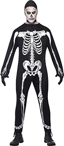 Smiffy's Men's Skeleton Jumpsuit Costume, Hood and Gloves, Legends of Evil, Halloween, Size L, 23032