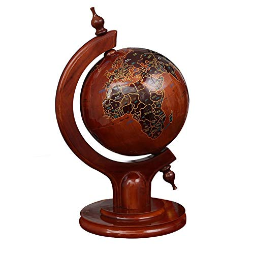 XYM Wooden Globe Ornaments Antique Wooden Crafts Home Office Desktop Home Decoration Gifts