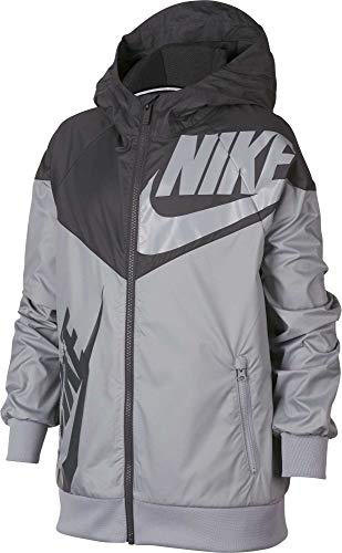 Nike Boy's Sportswear Graphic Windrunner Jacket (Gray, Small) by Nike (Image #2)