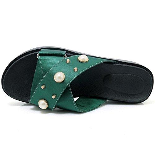 Compensees Femmes JOJONUNU Mules Sandales Green 24 qBwTTa5x7