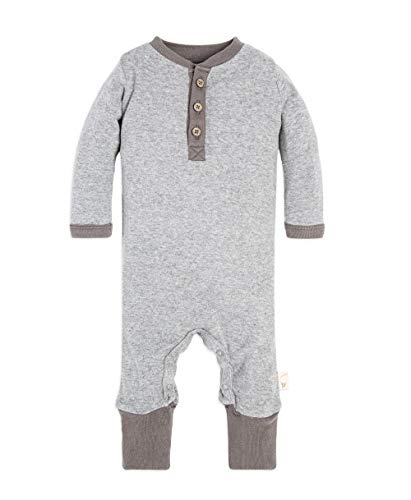Burt's Bees Baby Baby Boy's Romper Jumpsuit, 100% Organic Cotton One-Piece Coverall, Heather Grey Elbow Patch Henley, 3-6 Months